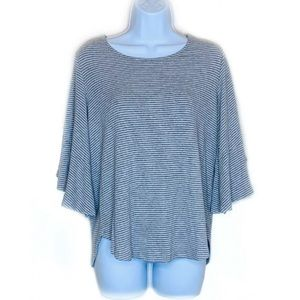 Pleione Gray Stripe Bell Sleeve Ribbed Top 131